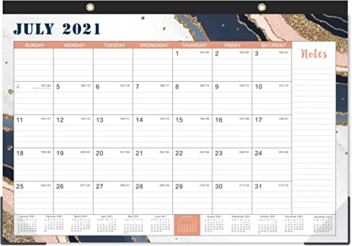 2022 Desktop Calendar.Amazon Com 2021 2022 Desk Calendar 18 Monthly Desk Wall Calendar 2 In 1 16 8 X 12 Jul 2021 Dec 2022 With Corner Protectors Ruled Blocks Pink By Artfan Office Products