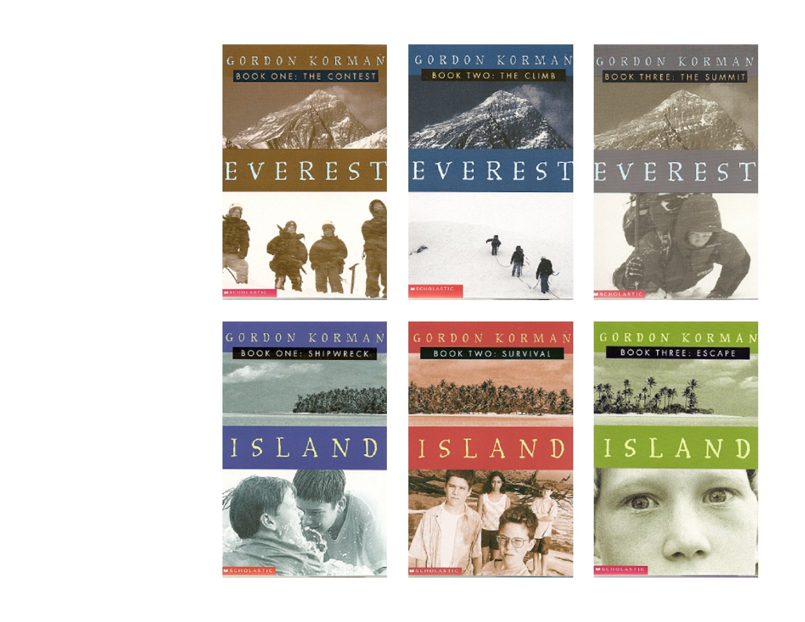 Read Online Two Complete Gordon Korman Trilogies: Everest 1-3: The Contest, The Climb, and The Summit and Island 1-3: Shipwreck, Survival, and Escape (6-Book Set) pdf
