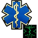 Glow Dark EMS EMT Medic Paramedic Star of Life Morale Tactical PVC 3D Hook&Loop Patch