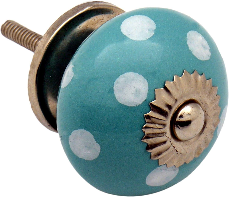 Turquoise// White Polka Dot Ceramic Door Knobs Cabinet Drawer Handle Set x6