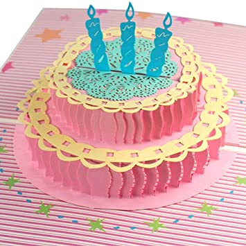 Amazon Com Birthday Cake 3d Pop Up Greeting Card Happy Birthday