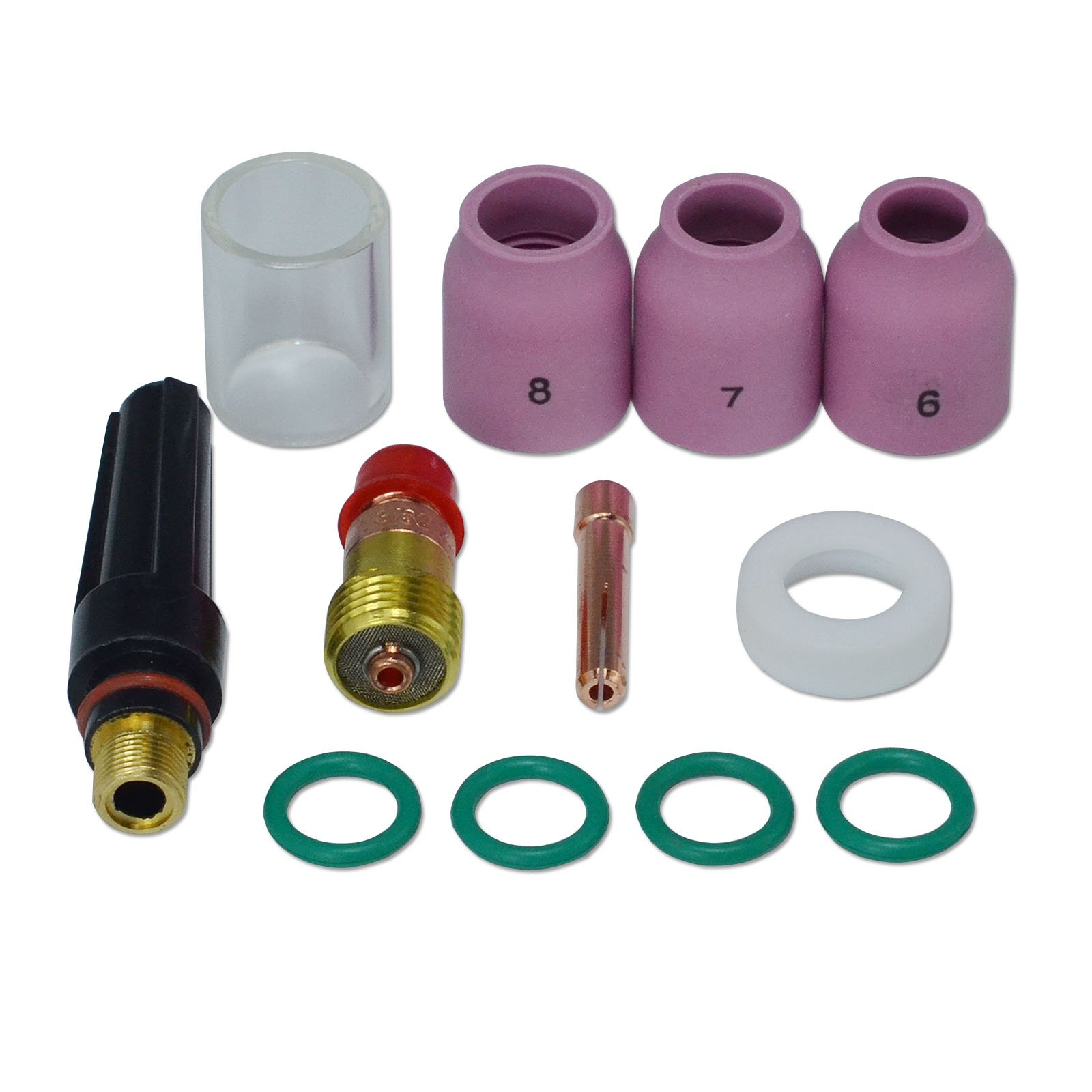 49PCS Scoolr TIG Welding Torch Supplies Welding Collet Gasket Back Cap Stubby Gas Lens Pyrex Glass Cup Alumina Nozzle Accessoory Kit for WP-17//18//26 TIG Welding Torch Accessories Kit