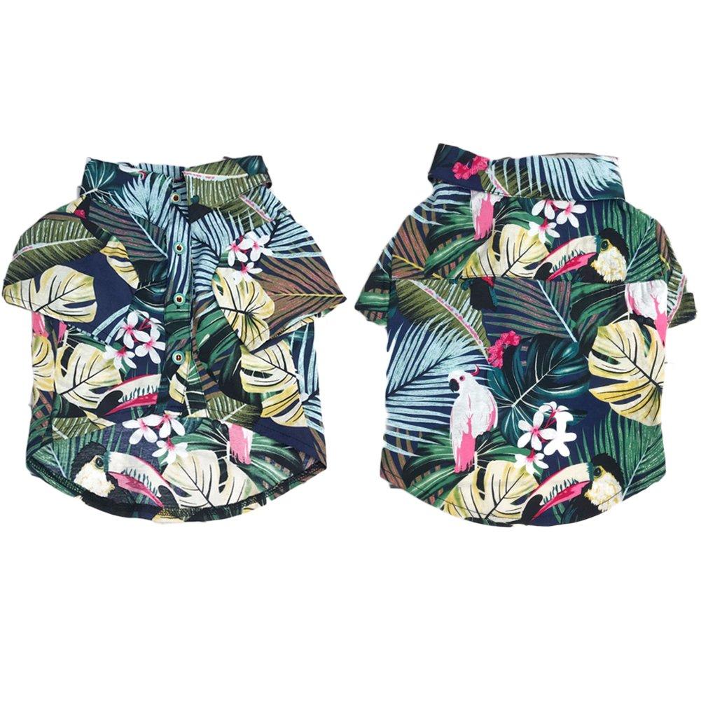 Meioro Abbigliamento per animali Vestiti per cani Comodo cane Camicia stile hawaiano Zona di mare Stile Cotone Materiale Cucciolo Bulldog francese Pug Blue-S