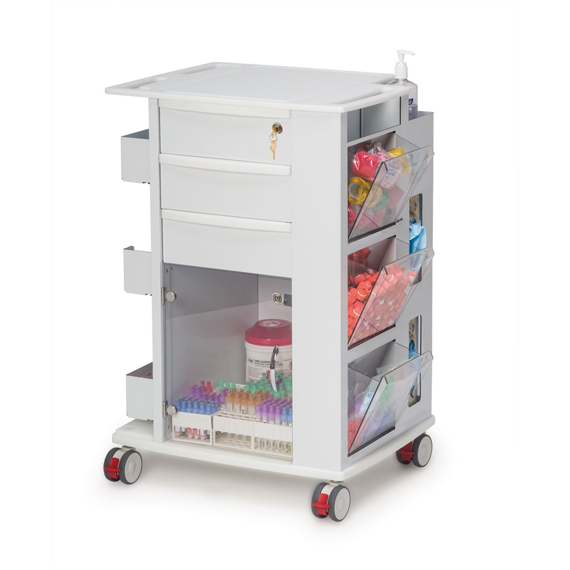 Phlebotomy Supply Storage Cart, 3'' Casters