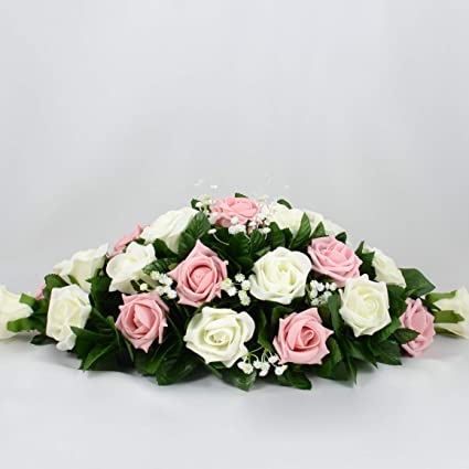 Artificial Wedding Flowers Hand Made By Petals Polly Top Table Decoration Cream Ivory Antique Pink