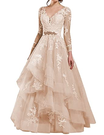 df7e07287845 Cdress Sheer Long Sleeves Lace Applique Wedding Dresses V-Neck Beaded Sashes  Bridal Gowns Champagne