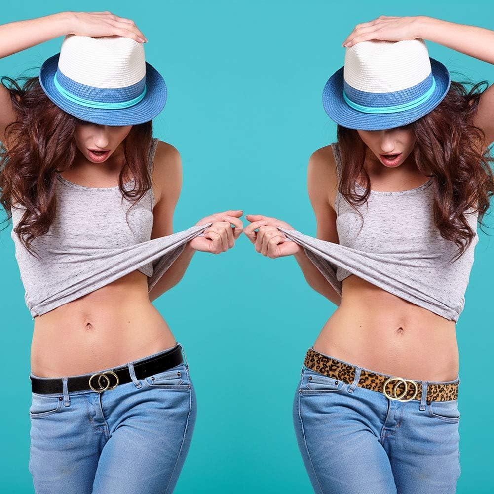 hellomagic 3 Pieces Women Leather Belt/ Leopard Belt Double Ring Belt Jeans Dress Waist Belts