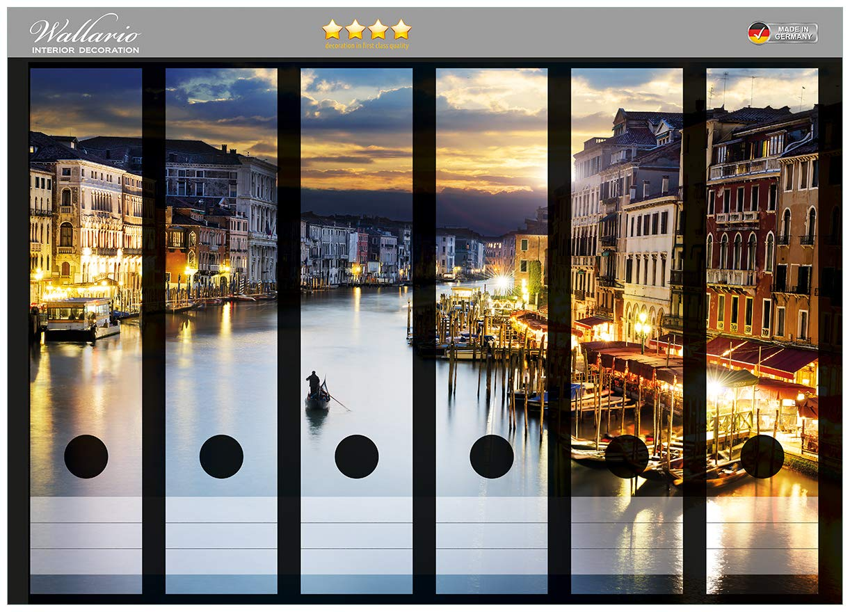 Canal Grande in Venedig Wallario Ordnerrücken selbstklebend 8 schmale Ordner