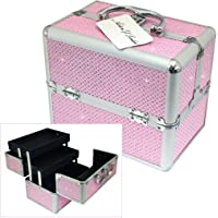Pink Sparkling Diamante Double Opening Lockable Cantilever Vanity Case Cosmetic Storage Box by Astin of London