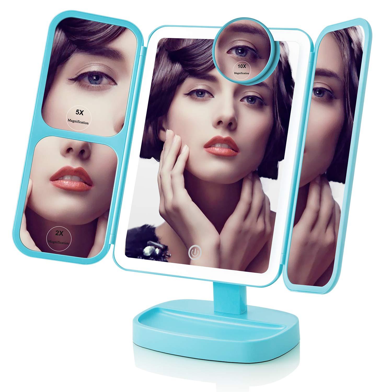 EASEHOLD Tischspiegel mit 38 LED-Leuchten 180 /° drehbare Drehung gr/ö/ßerer Touchscreen Kosmetikspiegel mit 2X // 5X// 10X-Vergr/ö/ßerung Schminkspiegel f/ür Mutter//Freundin//Frau Blau duales Netzteil