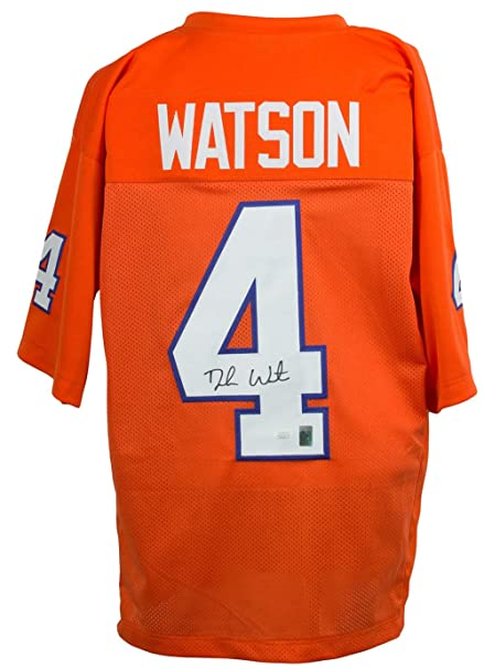 7a1b9078836 Image Unavailable. Image not available for. Color: Deshaun Watson Signed  Custom Orange College-Style Football ...