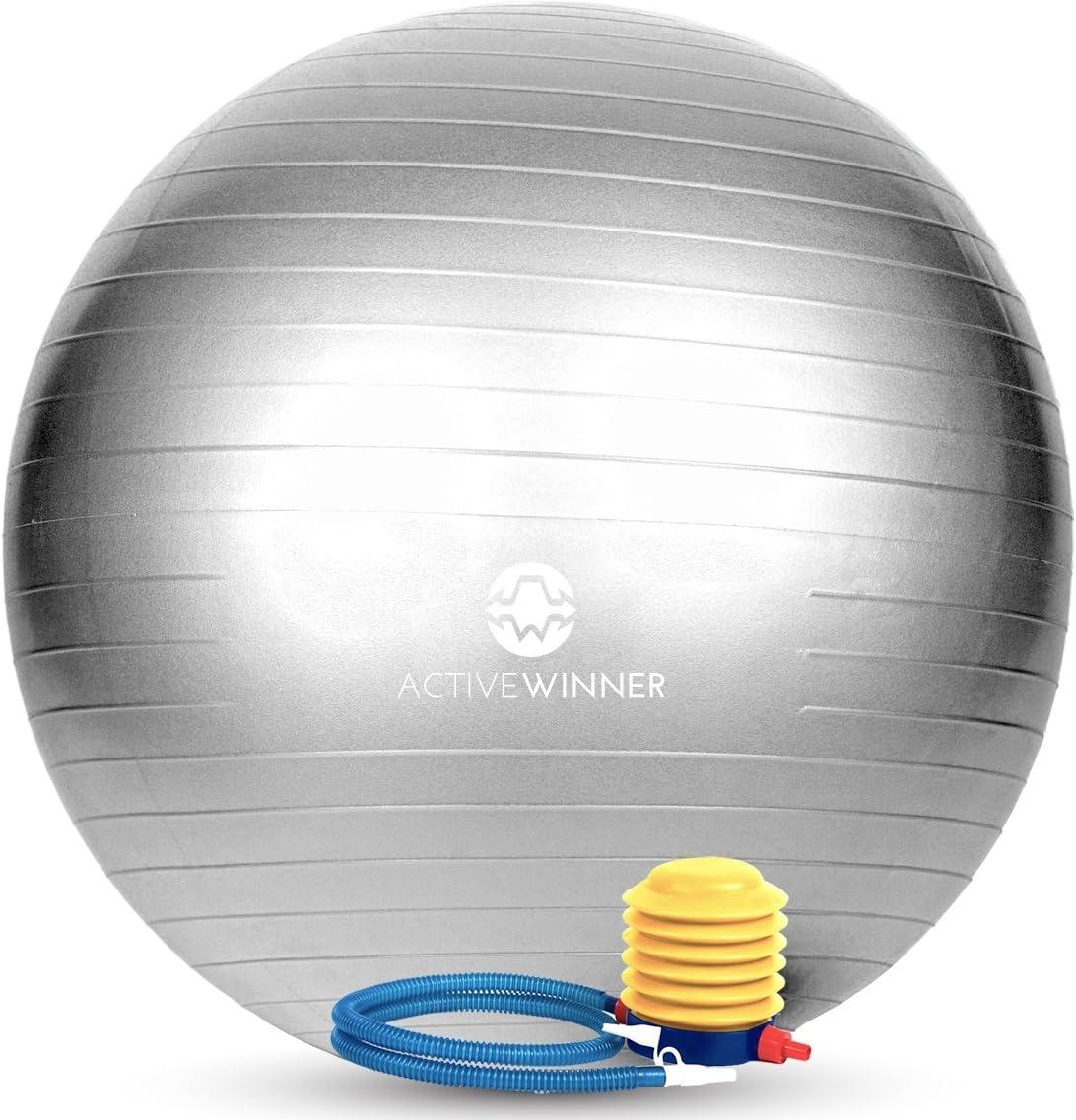 Active Winnerバランスボール 65/55cm アンチバースト 分厚い 滑り止め加工 フットポンプ付 ヨガ ピラティス 筋トレ ストレッチ オフィスチェア