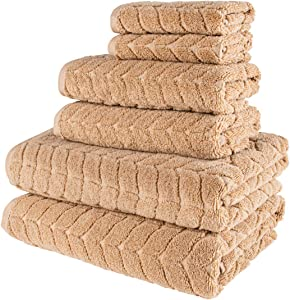 Bagno Milano 100% Turkish Cotton Jacquard Luxury Towel Set – Quick Dry Non-GMO Ultra-Soft, Plush and Absorbent Luxury Durable Turkish Towels Set (Latte, 6 pcs Towel Set)