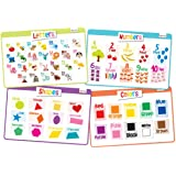 Educational Kids Placemats Set of 4: Alphabet Numbers Shapes Colors - Bundle - Non Slip Washable