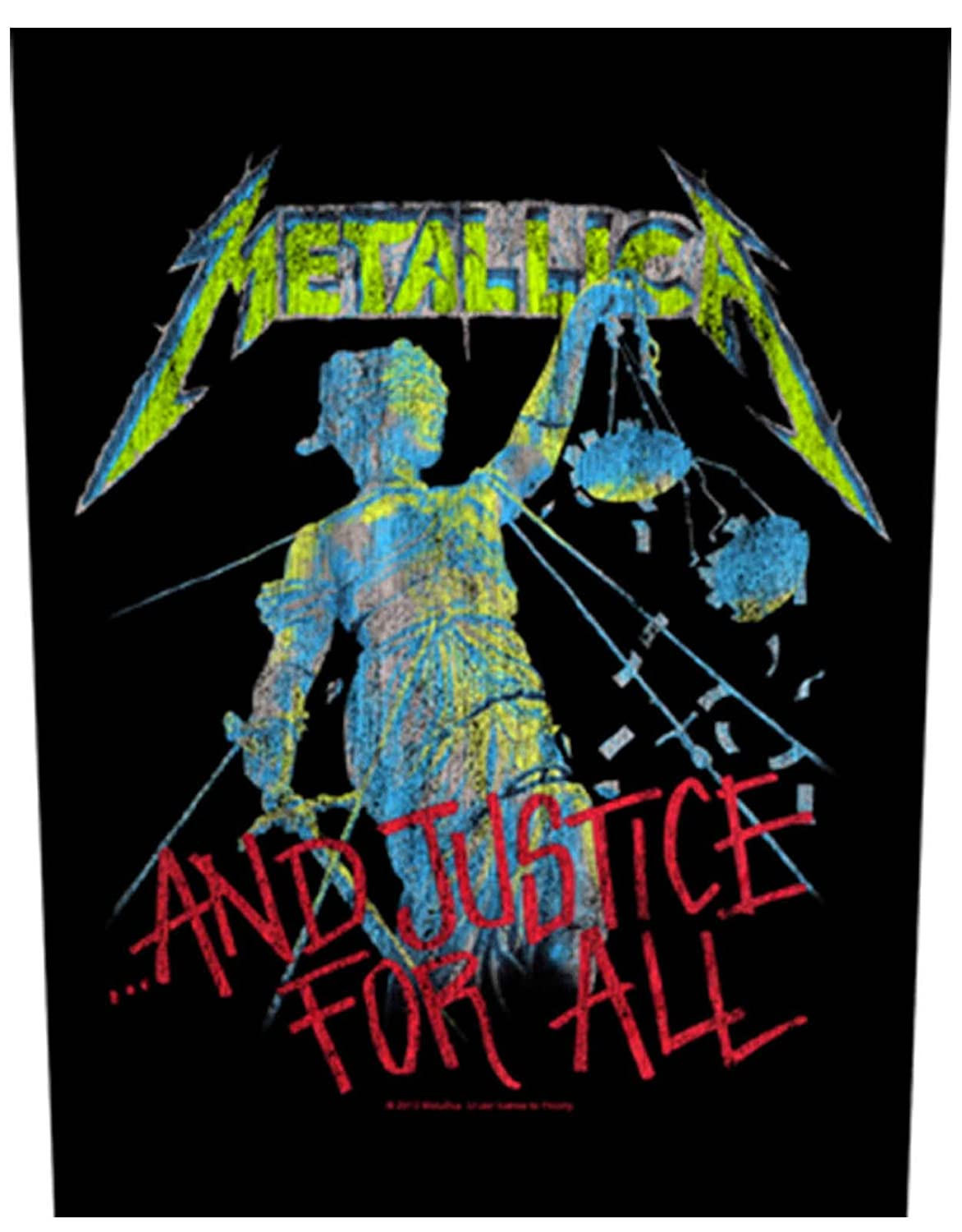 Metallica Back Patch And Justice For All Official New Black Woven (36cm x 29cm)