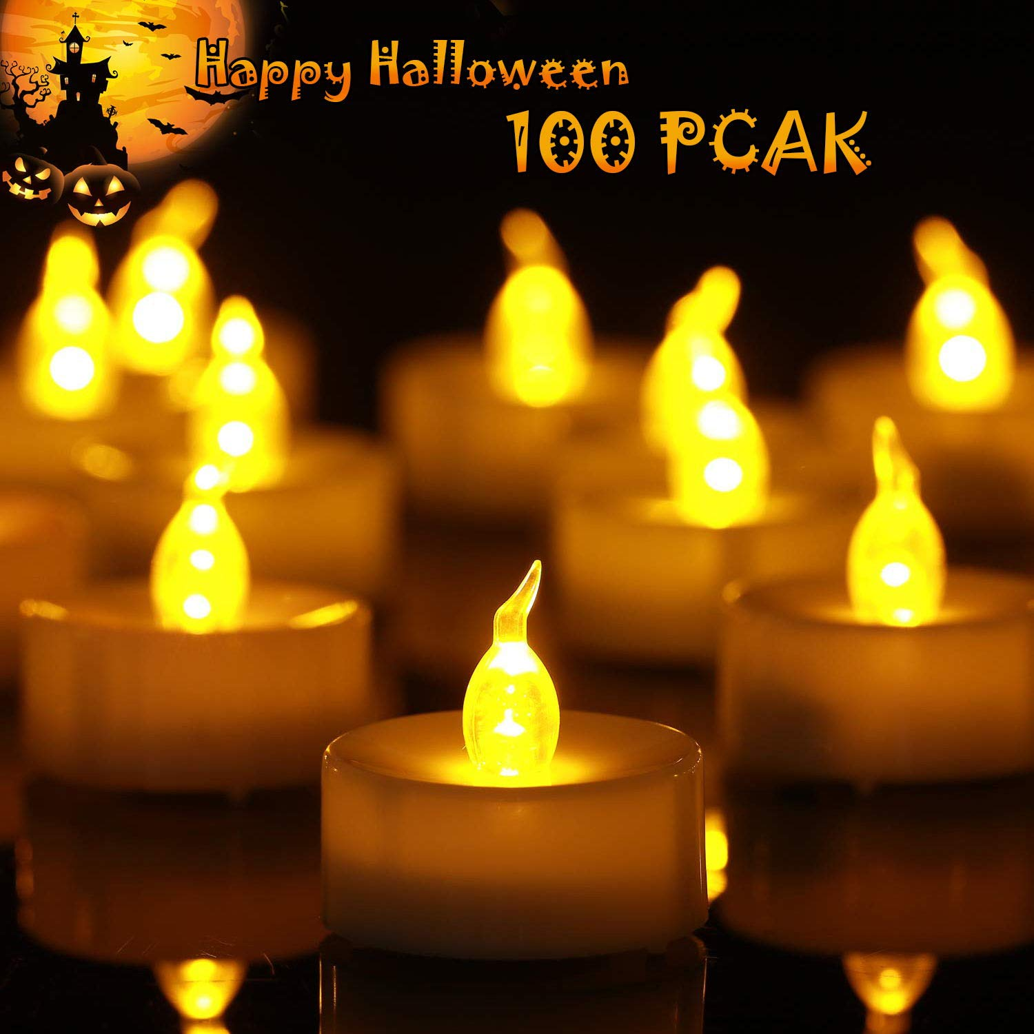 Homemory Battery Tea Lights Bulk, 100-Pack Flameless Tea Light Candles, Electric Tea Lights with Flickering, Long-Lasting Battery Life, Amber Yellow, Ideal for Votive, Halloween, Parties by Homemory