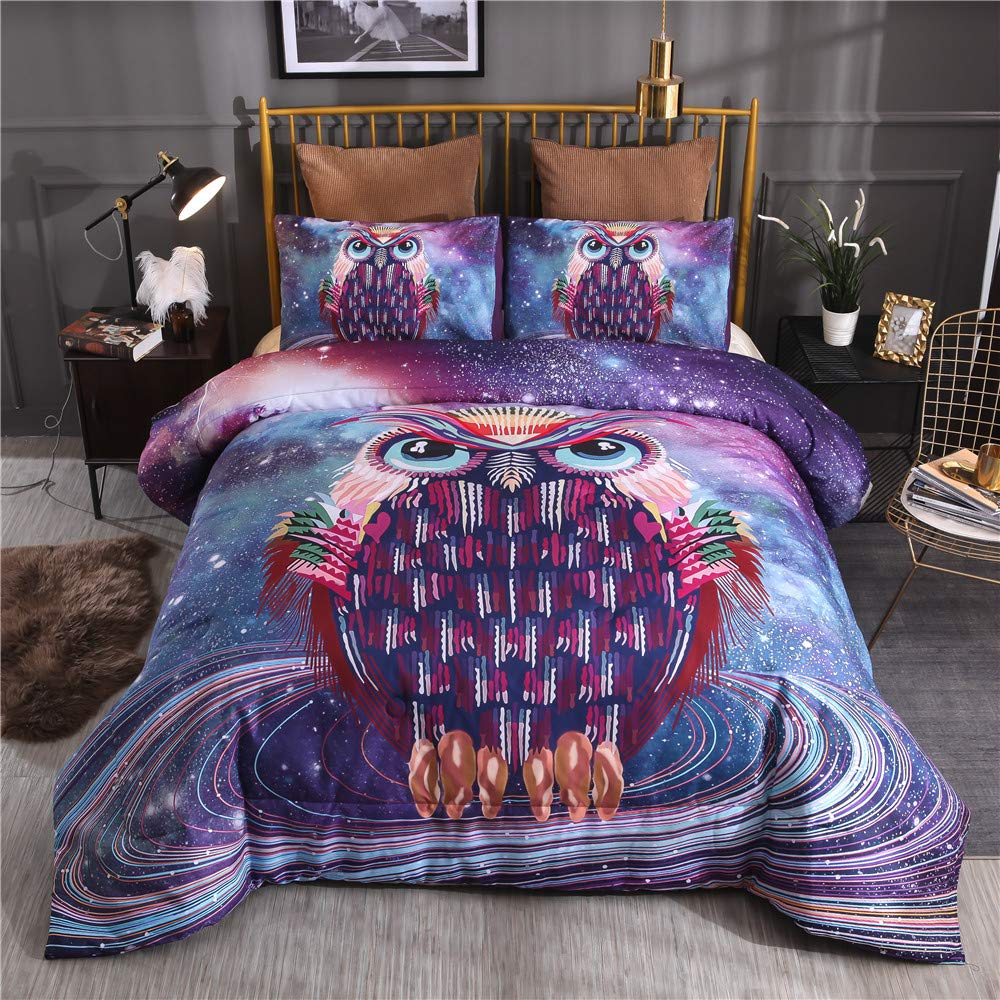 NTBED Galaxy Owl Printed Comforter Set Queen Purple Soft Quilted Bedding Sets