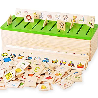 Sky blue Montessori Material Kids Wooden Toys Classification Box Shape Sorters Match Games Educational Toy: Toys & Games