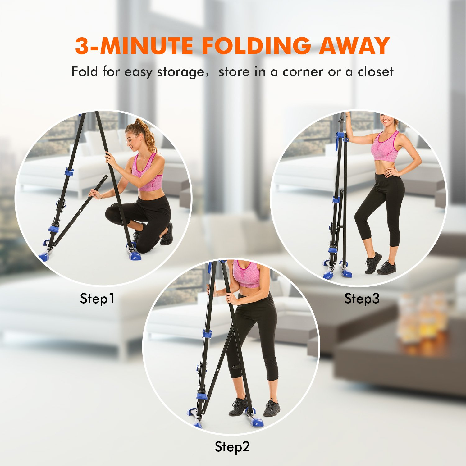 Dozenla Vertical Climber Stepper 2 In 1 Climbing Machine Exercise Fitness Foldable Stair Cardio Equipment [US Stock] by Dozenla (Image #6)