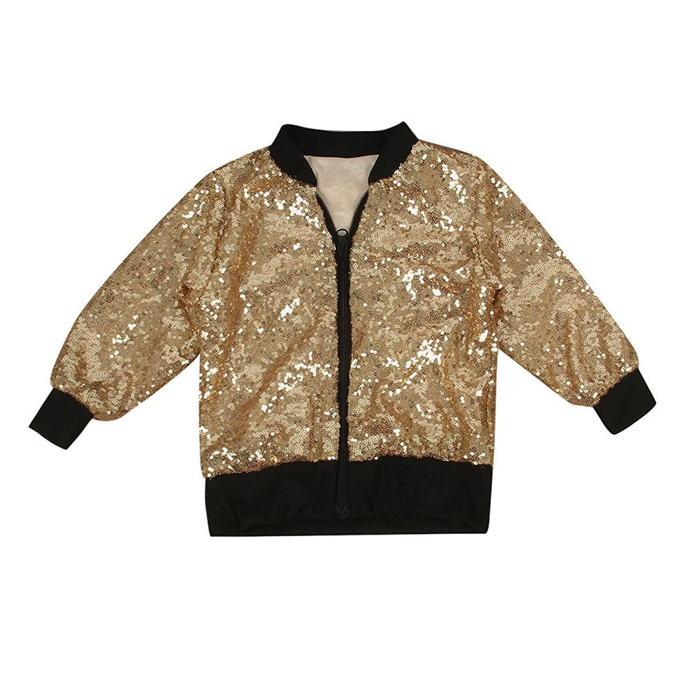 CosSky Little Girls Gold Jacket Outwear Size 8 10 (Gold(Zip), 8) by CosSky (Image #1)