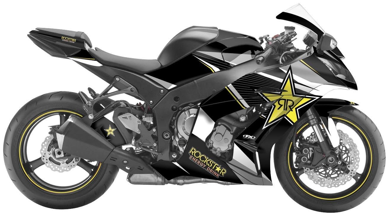 Factory Effex 16 – 15130-rs RockstarシリーズイエローStar Completeストリートバイクグラフィックキットfor ZX - 10r   B009XD5U7S