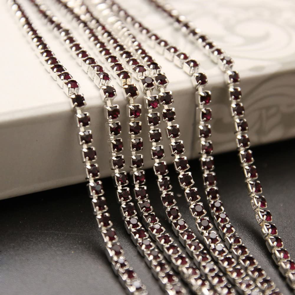 USIX 10 Yards Crystal Rhinestone Close Chain Trimming Claw Chain Multi Size Color Rhinestone Chain for DIY Arts Craft Sewing Jewelry Making Light Pink-Silver Chain SS6//2.0MM