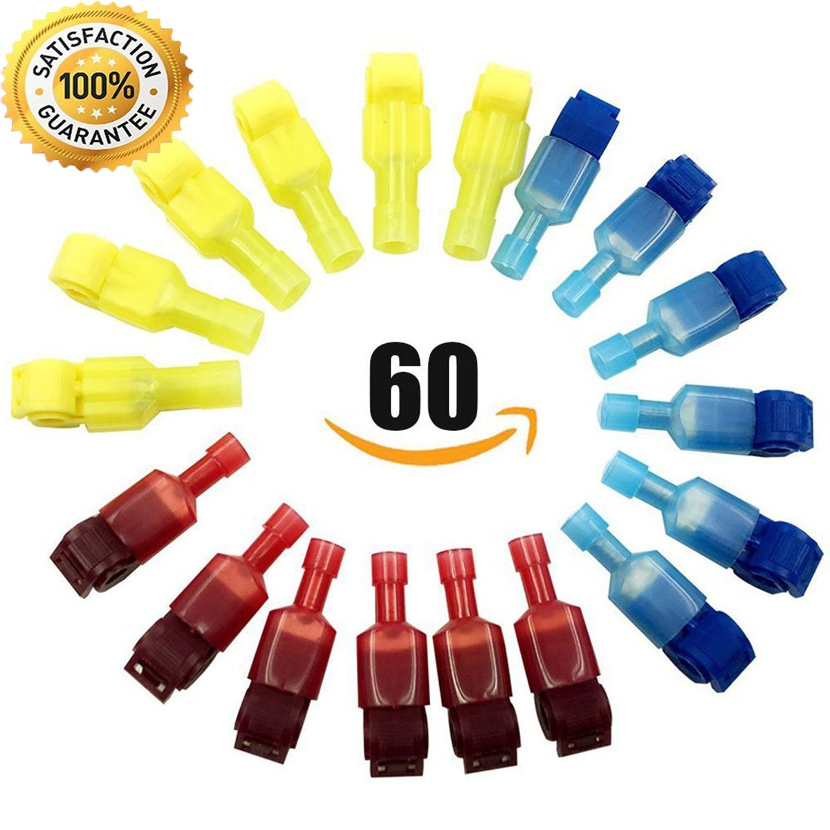 60Pcs Quick Splice Electrical Wire Terminals and T-Tap Nylon Fully Insulated Male Spade Connectors Set by Baleauty (Only for Flexible Wire))