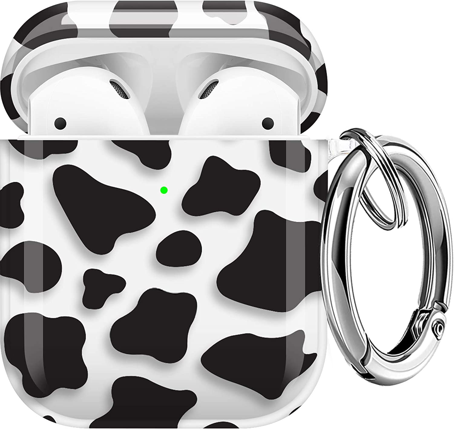 Maxjoy Compatible AirPods Case Cover, Clear Cow Print Case Cute Soft TPU Protective Shockproof Cover with Keychain Compatible with Apple AirPods Wireless Charging Case 2&1 for Girls Women Men, Cow