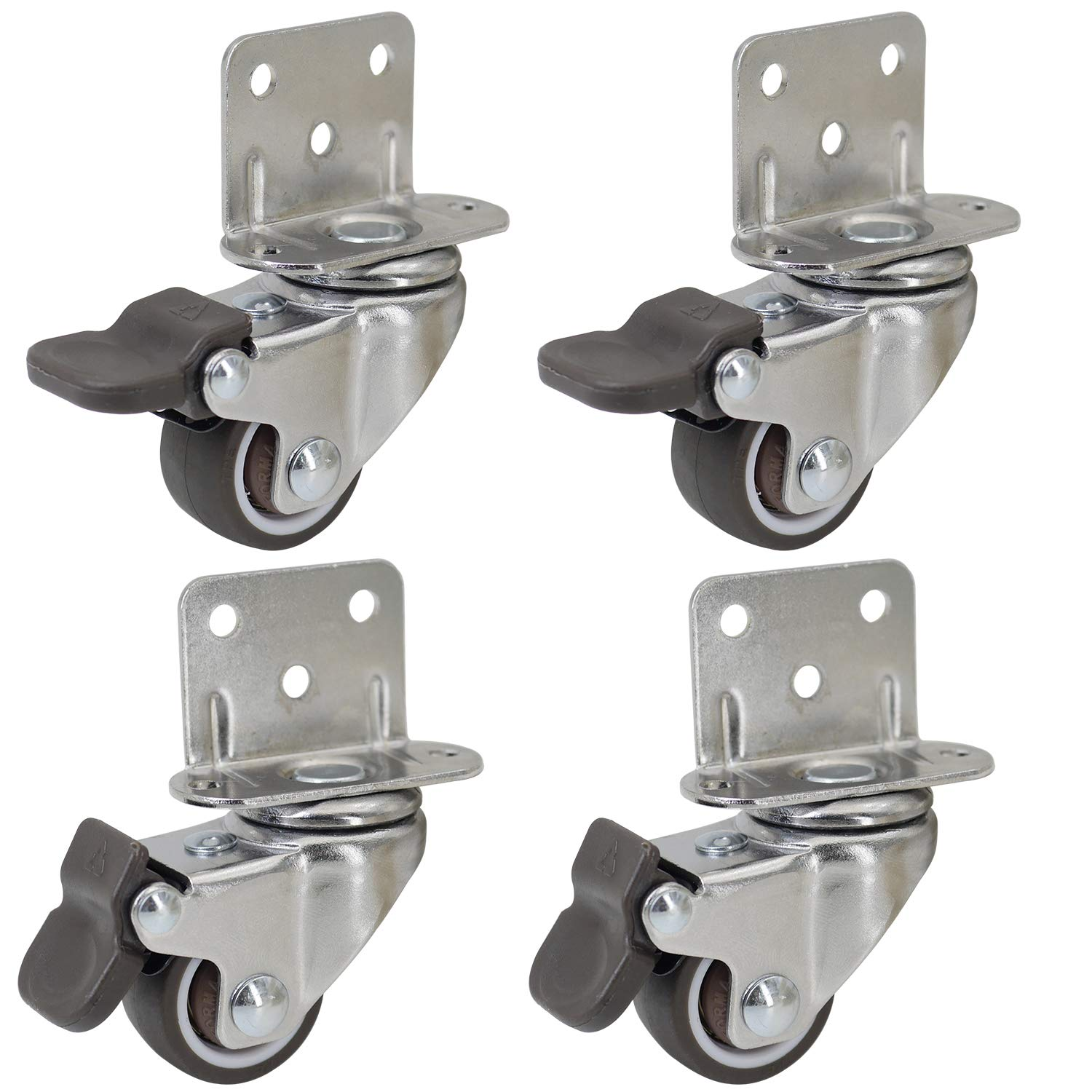 """Dr.Luck 1"""" L-Shaped Plate Swivel Caster w/Brake, 5 Holes L-Clip Side Mount Plate for Narrow Install Place, TPR Rubber Wheel Move Silent Smooth Sturdy, 4 Pack Total Load Capacity 80Lbs/36Kg"""