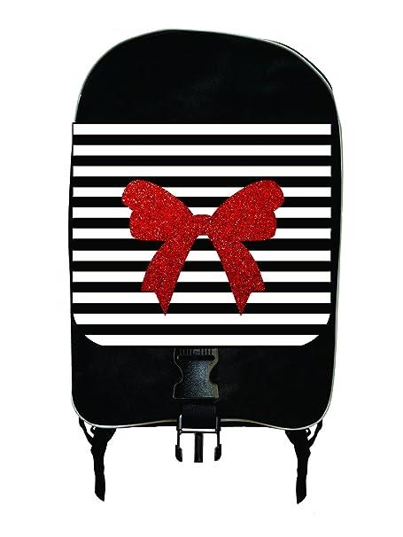 53121e45207 Red Bow Ribbon on Black and White Stripes - Faux Glitter Print Design -  Girls Large