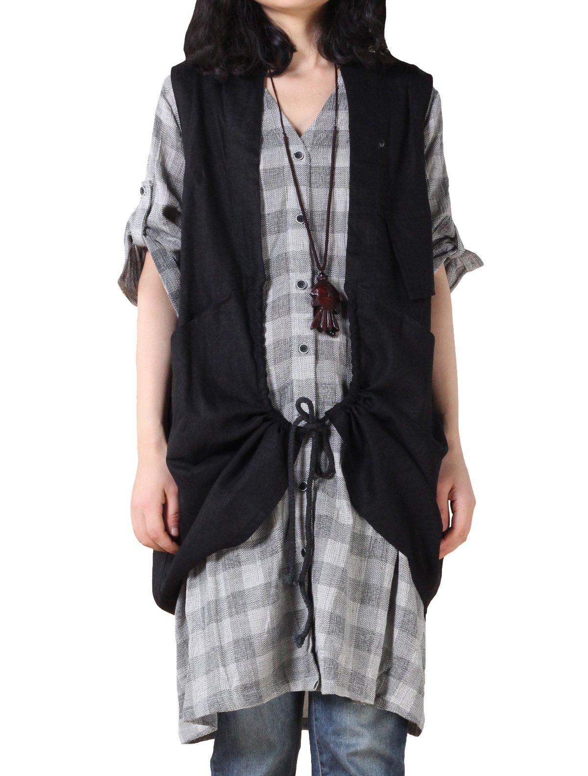 Mordenmiss Women's Sleeveless Vest Casual Blouse Waistcoat Black