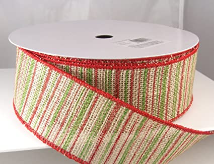 banda natural red and green striped burlap christmas ribbon 2 12 or - Burlap Christmas Ribbon