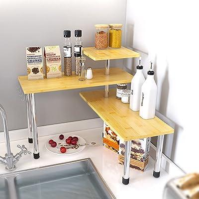 Buy Sauce Zhan 3 Tier Corner Shelf Countertop Organizer Kitchen Counter Top Spice Rack Over Sink Storage Bamboo Display Shelves Bookshelf Desktop Space Saver For Living Room Bathroom Bedroom Office Online In