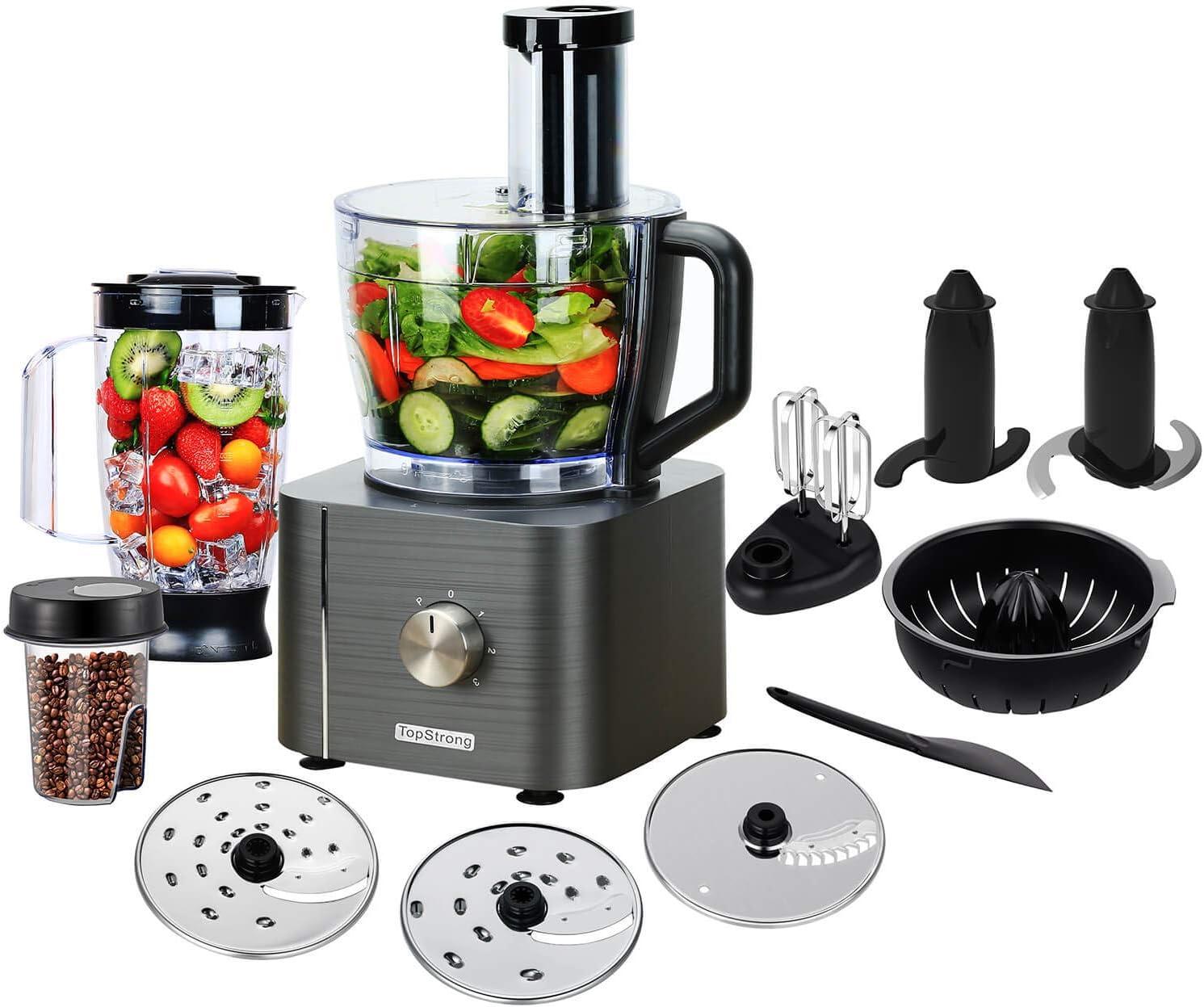 TopStrong Procesador de Alimentos,11 en 1 Robot de Cocina Compacto,1100W, Capacidad 3.2 Litros,MultiTalent con accesorios (Licuadora, Picadora, Multi Mezclador con Cuchilla para Masa)