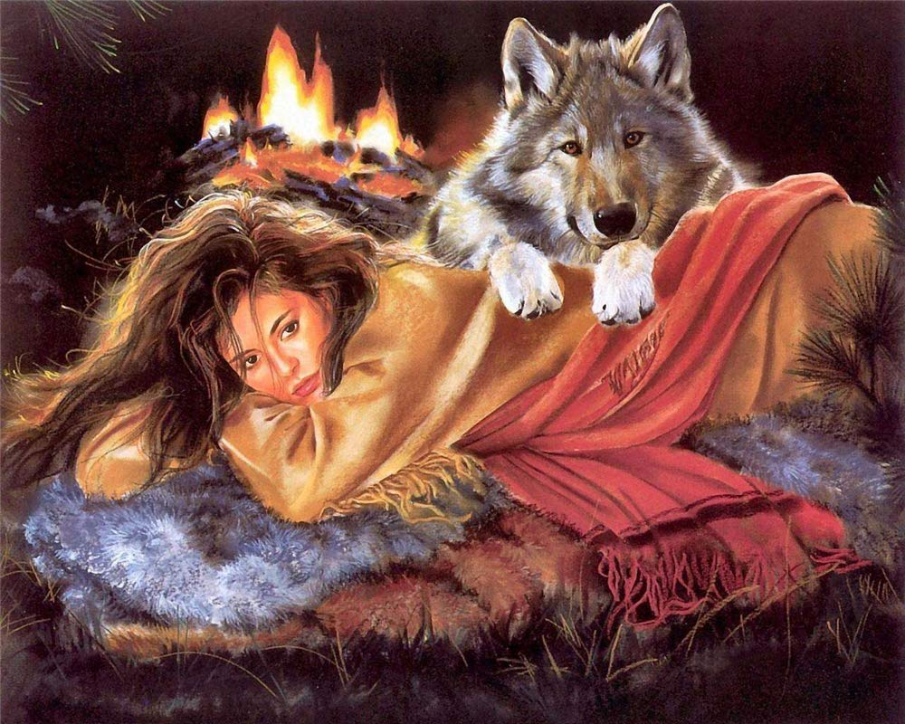 A, 12x16inch Full Drill Wolf and Girl DIY 5D Diamond Rhinestone Crystal Painting Cross Stitch Kit Wall Art Decor Diamond Embroidery Painting by Number Kits Home Decor 5D Diamond Painting