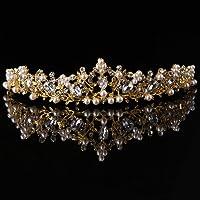 CADANIA Accesorios para el Cabello, Corona de Perlas Novia Boda Tiara Princesa joyería Mujer Reina decoración-Oro