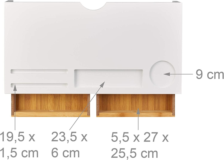 Relaxdays Support moniteur bambou, Rehausseur écran 2 tiroirs compartiments, Support HLP 14 x 60 x 30 cm, blanc/nature