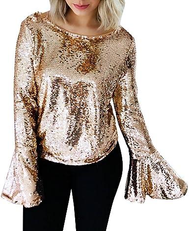 FAMILIZO Mujeres Blusa Tops Sexy Camiseta T-Shirt Casual Tops Primavera T-Shirt Camiseta Mujer Lentejuelas Tops Manga Larga Blusa Mujer (S, Oro): Amazon.es: Ropa y accesorios