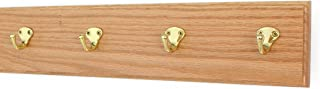 """product image for Oak Wall Mounted Coat Rack with Solid Brass Singular Style Hooks 4.5"""" Ultra Wide (20"""" x 4.5"""" with 4 Hooks, Natural)"""