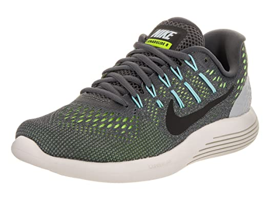 Nike Womens sz 12 Lunarglide 8 Running Shoe Dark Grey/Black/Ghost Green