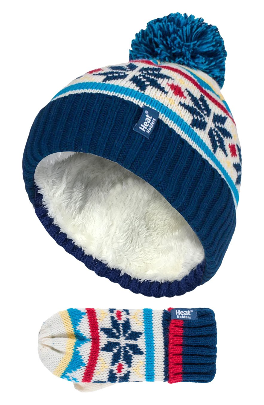 Heat Holders - Kids Boys Knit Winter Fleece Insulated Pompom Hat and Mittens Set BTO1P6)