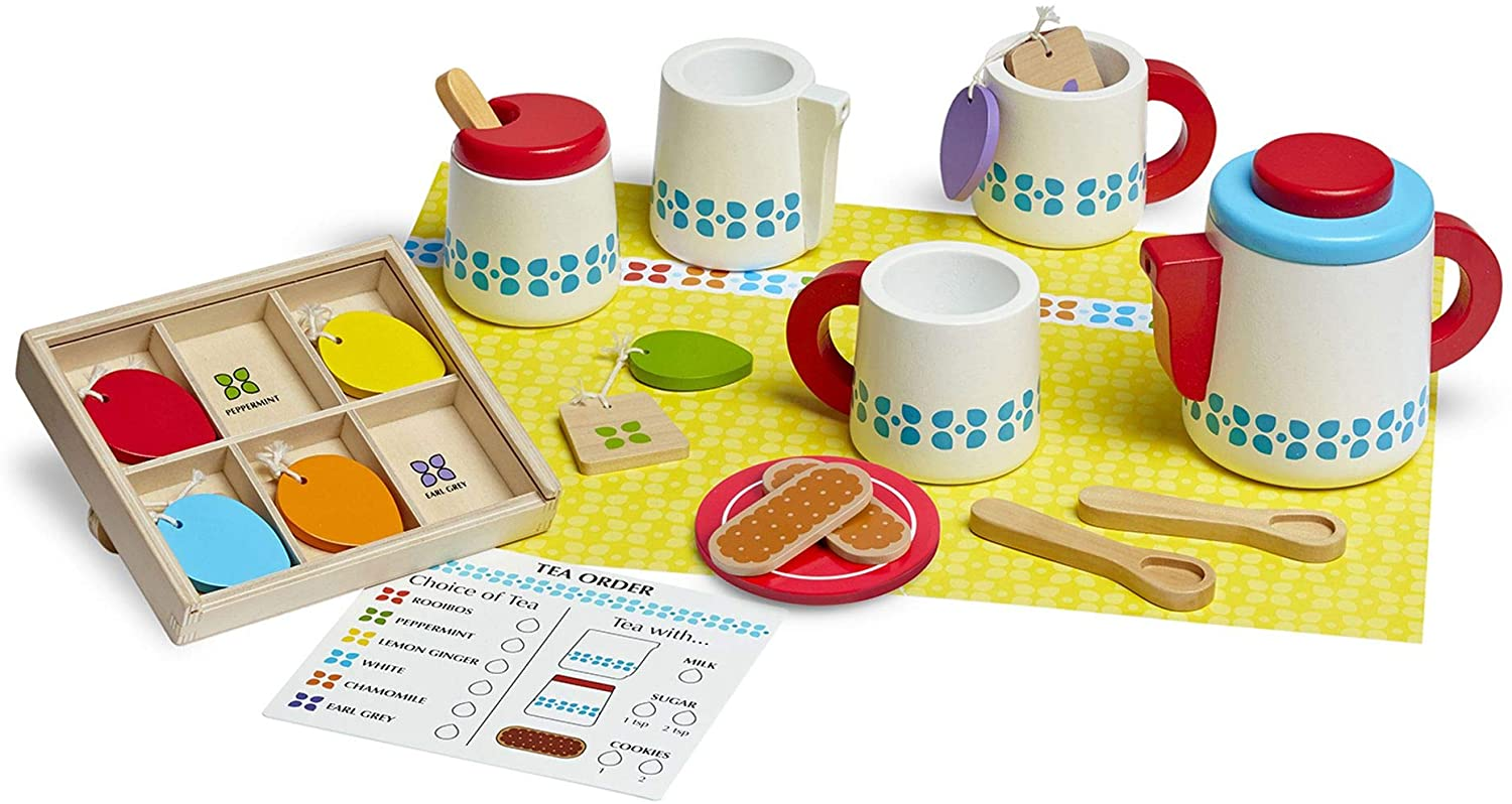 Melissa & Doug Wooden Steep and Serve Tea Set, Multicolor (19843) , Modelos/colores Surtidos, 1 Unidad