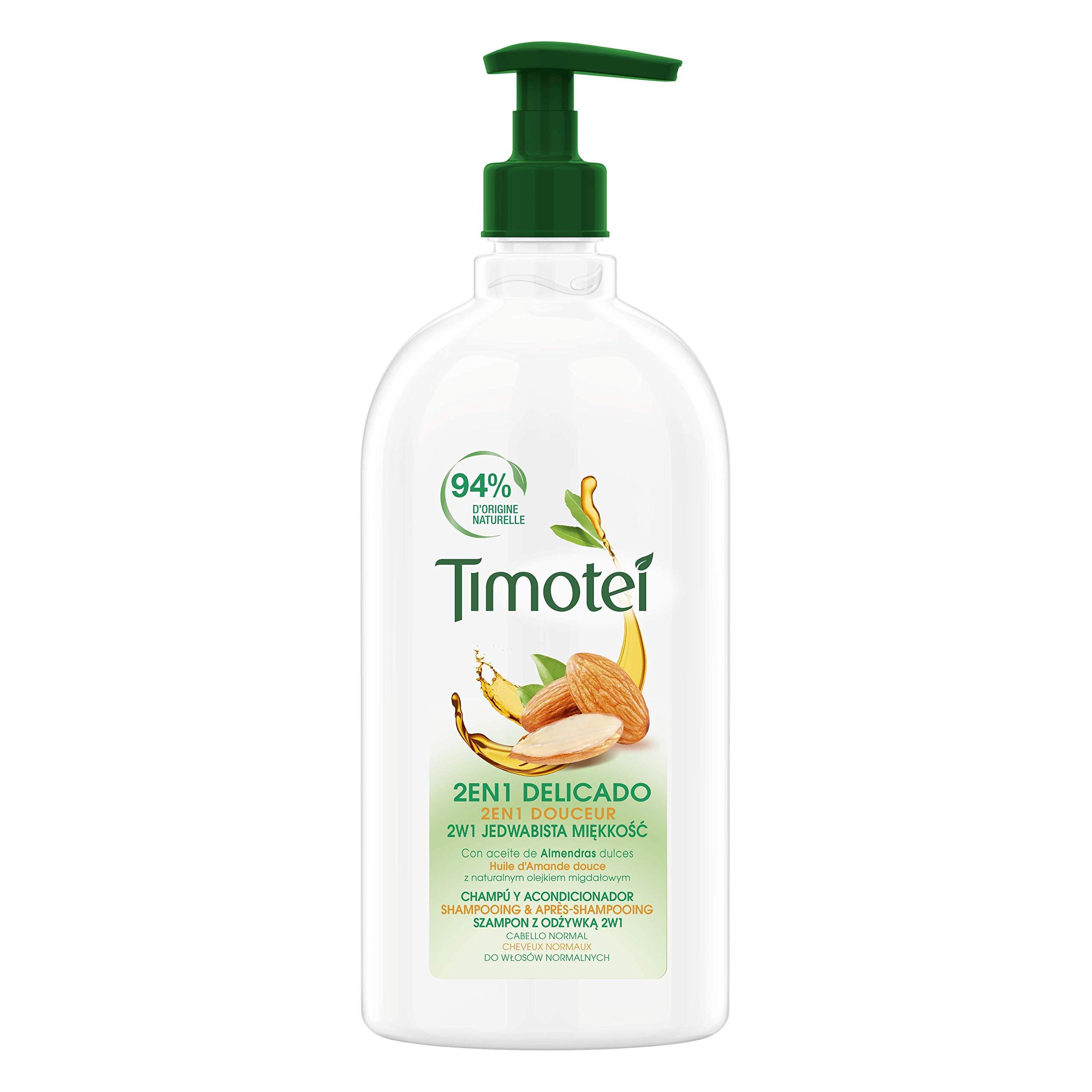 Timotei champú y acondicionador delicado para todo tipo de cabello con aceite de almendras dulces; con limpiadores de origen vegetal, 94% ingredientes de origen natural, 750ml