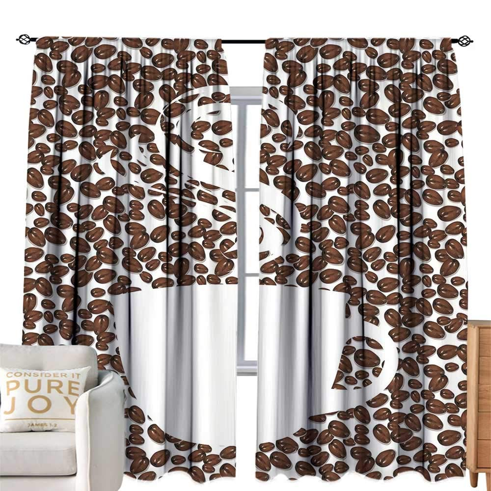 最も完璧な CobeDecor エクストラロングカーテン マグシルエット コーヒー グランジ風化 マグシルエット アロマ ジャワビーンズ アロマ 朝食 ダークブラウン W120\ ココア タン 寝室 バルコニー リビングルーム用 W120