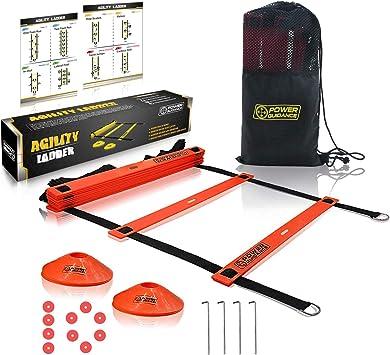 POWER GUIDANCE Escalera de Velocidad Escalera de Agilidad 6m para Fútbol Baloncesto Tenis Fitness Entrenamiento (10 Conos,Bolsa de Transporte): Amazon.es: Deportes y aire libre
