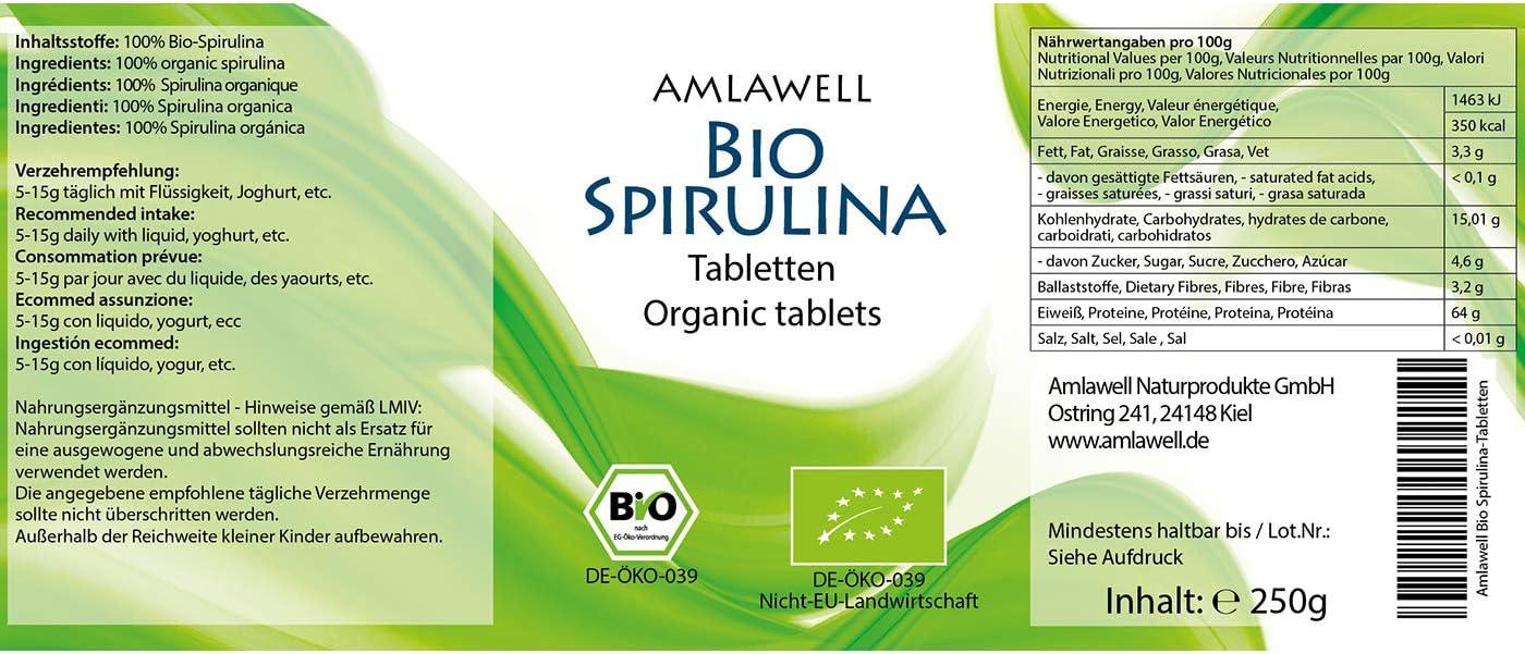 Amlawell comprimidos Bio-Spirulina / 250g / 1000 / pellets de BIO - DE-ÖKO-039