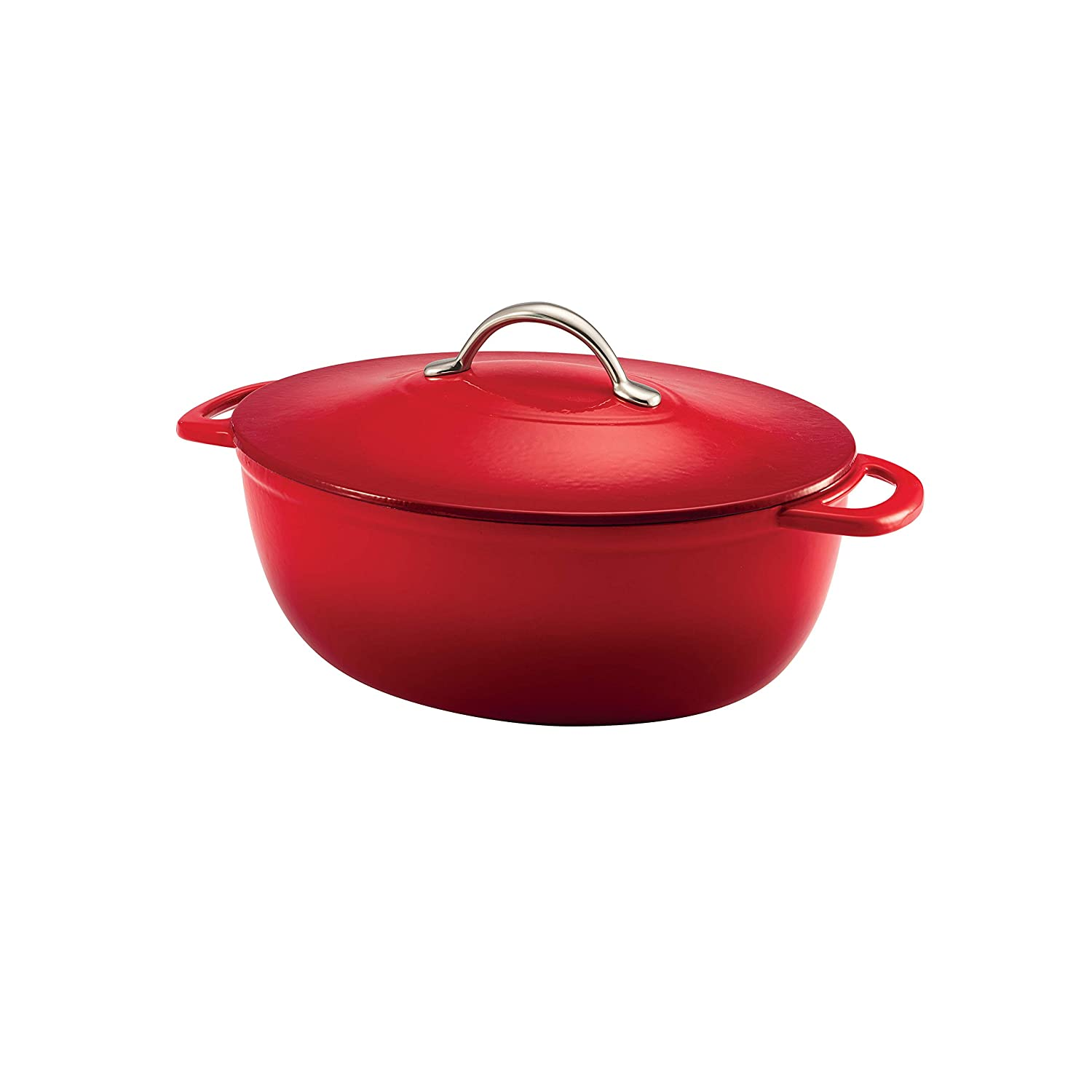 Tramontina 80131/029DS Enameled Cast Iron, Gradated Red 6.5-Quart Covered Oval Dutch Oven,
