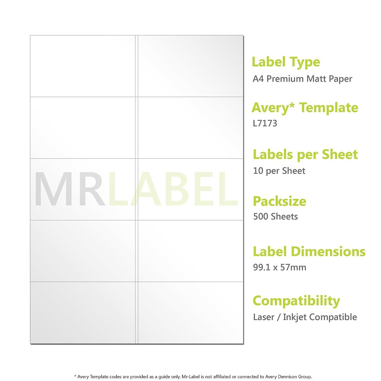 Avery Compatible Etiquetas - L7173/J8173 (10/500): Amazon.es ...