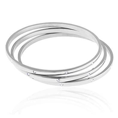 Amazon.com: edforce Acero Inoxidable Pulsera Apilable CZ ...
