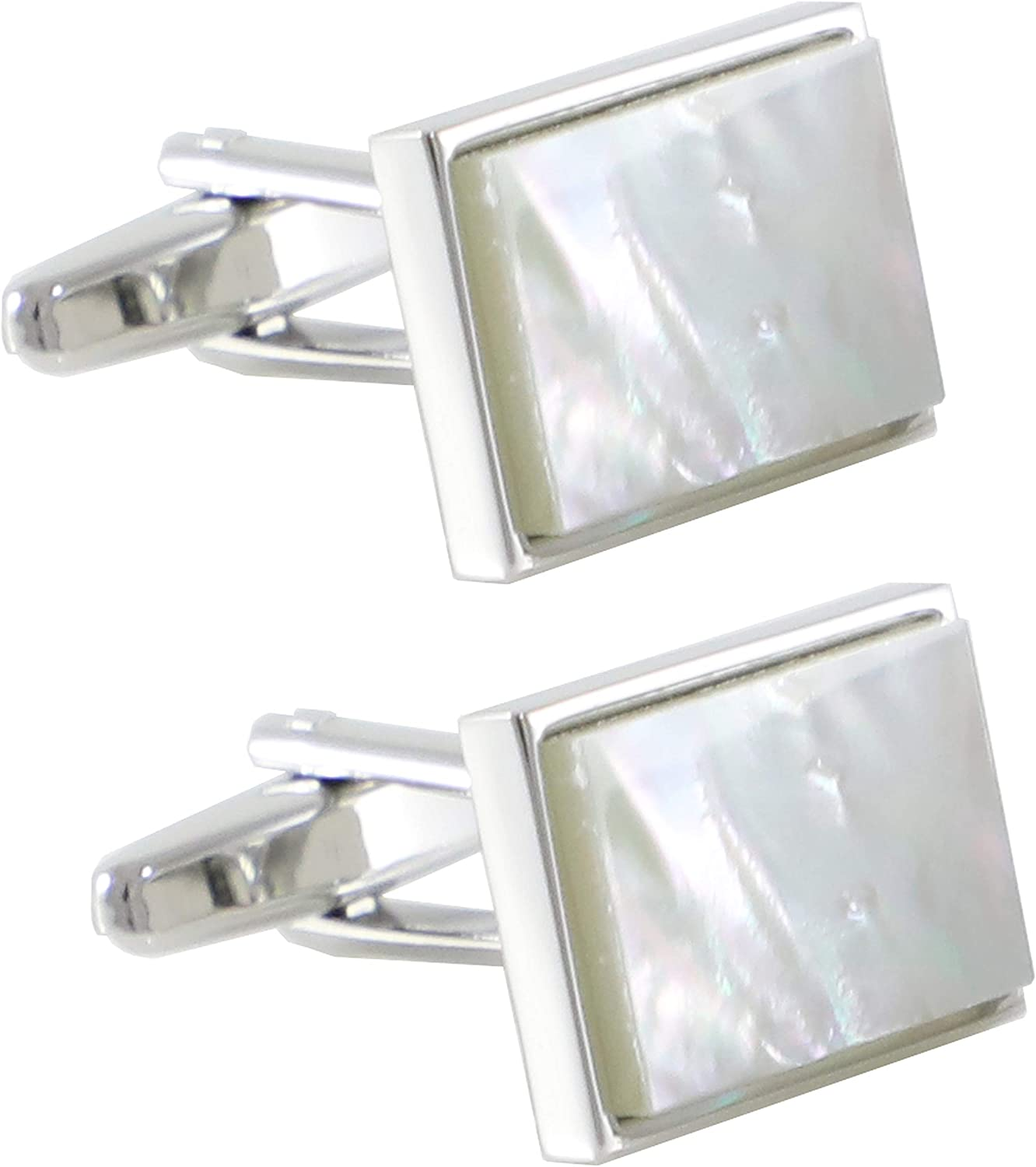 MENDEPOT Mother of Pearl Cufflinks with Box Men Classic White Stone Cuff Links Wedding Groom Gift